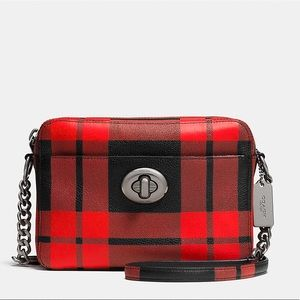 ‼️NEW COACH plaid camera bag